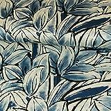 Stoffe Werning Strickjersey großes Blumenmeer Jeansblau Modestoffe Flower Frauenstoffe Strickstoff - Preis Gilt für 0,5 Meter