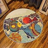 Nette DREI große Fische Muster Round Carpet Cartoon Kinder Teppich Schlafzimmer Kinderzimmer Nachttisch Wohnzimmer Couchtisch Hängematte Matte Stuhl Computer Stuhl Teppich Mats-5 Größen.