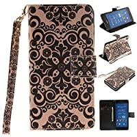 Sony Xperia Z2 case, JGNTJLS [with Free Tempered Glass Screen Protector] Premium PU Leather Wallet Embedded Flip Magnetic Detachable Close Lock with [Colorful-Pattern Lanyard Strap] and [Credit Card Holder Slots] Smart Standing Folio Book Style Type Styli