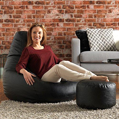 Bean Bag Bazaar® Gaming Sitz Sack Designer Liegesessel SCHWARZ Lederimitat - Extra Large Sitzsack Sessel -
