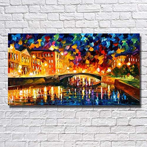 SHYHSCLBD Ölgemälde Auf Leinwand Handgemalt, Kreatives Abstraktes Stadtbild, Gelbes Schlossgebäude, Wand-Kunst Für Inneneinrichtung-Wand-Dekor,120×240Cm -