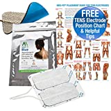 Med-Fit BLUE SENSITIVE SKIN TENS ELECTRODES-3 PACKS 12 ELECTRODES 9CM X 5CM-HIGHEST QUALITY MEDICAL GRADE GEL FOR ALL TYPES OF SENSITIVE SKIN-ALLOWS FOR LONG TERM TENS APPLICATIONS WITHOUT CAUSING SKIN IRRITATIONS PLUS a FREE helpful electrode placement chart
