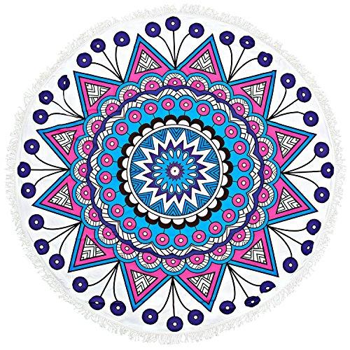 Meerseee 150CM Serviette de Plage Ronde Mandala Drap de Plage Femme Tapisserie Mandala Plage Serviette Yoga Mat Bohème Nappe