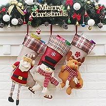 Funpa 3 Pack Medias de Navidad Santa Santa Santa Navidad Reindeer Navidad colgando medias para Navidad