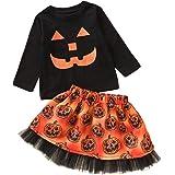 T-Shirt per Bambini a Maniche Lunghe con Stampa di Zucca di Halloween Cartoon + Set di Gonna in Maglia con Stampa di Zucca To