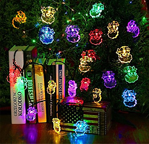 Alimentado por energía solar a prueba de agua Decoración luces de cadena, 4.8M 20 llevó el Santa Claus de Navidad Árboles enciende la lámpara para la decoración de su hogar, jardín, fiesta de la boda (5 M, 20 Santa Claus, RGB) width=