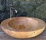 Guru-Shop Massives Ovales Marmor Aufsatz-Waschbecken, Waschschale, Naturstein Handwaschbecken 50x40 cm, Waschtische, Waschbecken & Badewannen