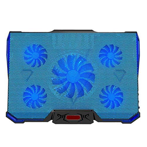 HJYQ Laptop Fan Cooler Stand mit Rapid Cooling 5 Lüfter Bei 1100-2100RPM Für 12-17-Zoll-Laptop,Blue