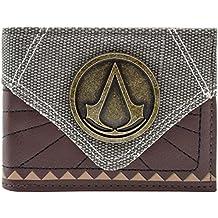 Cartera de Assassins Creed Insignia de metal con textura marrón