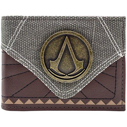 Assassins Creed Metal Badge Strukturierter Braun Portemonnaie Geldbörse (Portemonnaie Strukturiertes Fach)