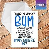 personalisierbar Funny 'Danke für Wischen My Bum Witz Father 's Day Grußkarte–Texten für jede Gelegenheit oder Event–Geburtstag/Weihnachten/Hochzeit/Jahrestag/Verlobung/Vatertag/Muttertag