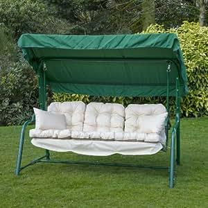 3 Sitzer Garten Relaxliege Hängematte Schaukel mit Luxus Sitzkissen-uni natur