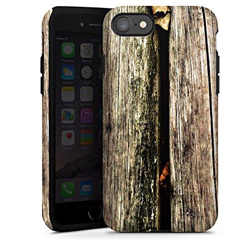 Apple iPhone X Silikon Hülle Case Schutzhülle Planken Moos Holz Look Tough Case glänzend