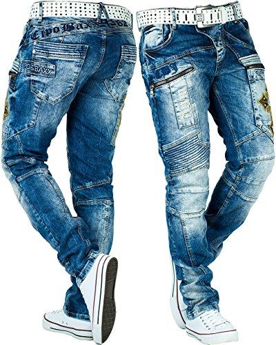 Cipo & Baxx Herren Jeans Freizeit Hose Clubwear Style Denim Disco Dope White