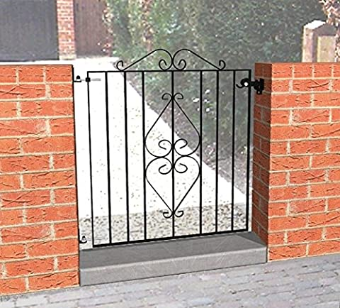 Ascot Wrought Iron Gate 910 x 740mm Black With Adjustable Gate Fixing Kit 8029003