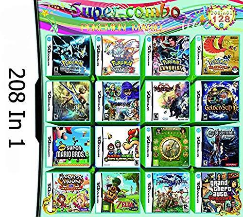 GOODJOJO 208 in 1 NDS Game Pokemon Mario Castlevania Fin Spielekarte für Nintendo DS NDS NDSL NDSi 3DS 2DS XL