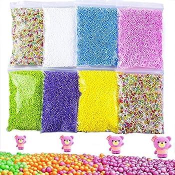 Vi-go, Mini Styropor Bälle Für Schlamm, Tiny Schaum Perlen Für Floam, Für Diy Kreative Handwerk Hochzeit Und Party Decarations, 0,1-0,18 Zoll, 42000 Stück (8pack 8color) 0