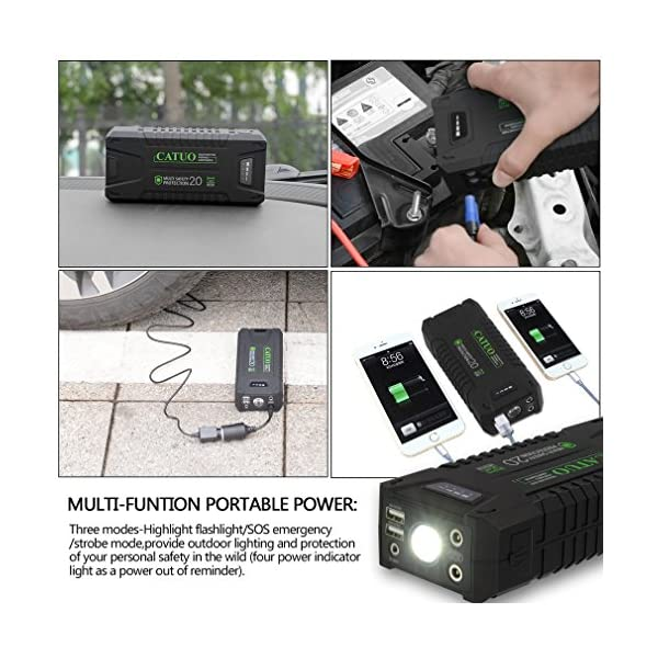 Jump Starter arranque de coche portátil, Footprintse Booster Starter de batería Jump Starter portátil LED 1000 A, 20000…