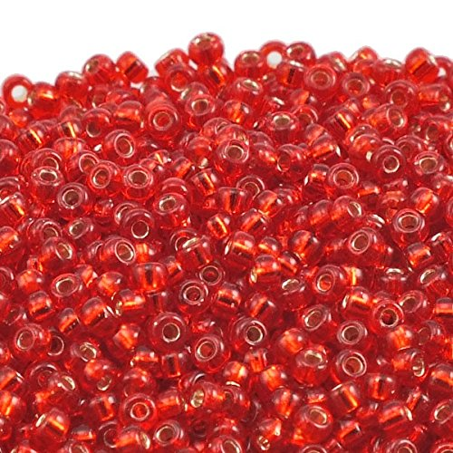 Miyuki Round Seed Beads, 11/0 Size, 250 Gram Bulk Bag, 10 Transparent Red Silver Lined