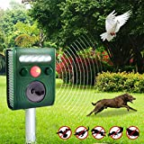 Solar Powered Ultrasonic Animal Repeller,Drillpro Pet Repellent Cat Dog Mice Bird Deterrent Spike For Garden Yard Field Farm Glassland With LED Flashing Light(Range:8m,Frequency: 13.5kHz-45.5kHz) Green