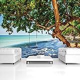 FORWALL Fototapete Tapete Strand P8 (368cm. x 254cm.) Photo Wallpaper Mural AMF11850P8 Gratis Wandaufkleber Strand Sand Sonne Meer Wasser Ferien Himmel Natur