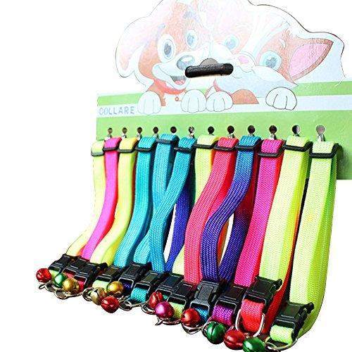 Katze Hund Halsband Personalisierte verstellbar Colorful Rainbow mit Bell 12PCS Cat Halsbänder (12Stück/Pack) (Personalisiert Katze Name-tags)