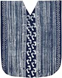 LA LEELA Frauen Batik Kleid lange Kaftan Strand Blau_X592 DE Größe: 42 (L) - 48 (2XL)