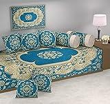 #5: Hargunz attractive look 500 TC Chenille Velvet Diwan set-Sky Blue