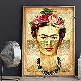Frida Kahlo Rahmen mit der Definition von Kreativität. Plakat mit Bild von Frida Kahlo mit braunem Hintergrund in A3 Kunstdruck des mythischen Malers Frida Kahlo. Definitionsblatt. Inneneinrichtung. Rahmen zum Rahmen. Papier 250 Gramm hohe Qualität. Dekorieren Sie Ihr Wohnzimmer, Schlafzimmer oder machen Sie das perfekte Geschenk.