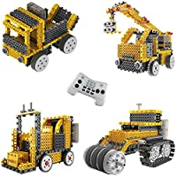 Think Gizmos Build Your Own Robot Toys For Kids - Ingenious Machines Remote Control Robot Building Kit (Crane, Forklift, Bulldozer & Truck)
