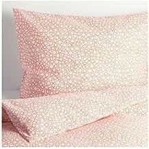 """IKEA Set di biancheria da letto, 2 pezzi, mod. 'Trädaster"""", con copripiumino 140 x 200 cm e federa 80 x 80 cm, densità filato: 120, bianco e arancione, fantasia a cerchietti"""