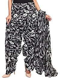 BILOCHI'S Women Printed Solid Cotton Full Black And White Patiala Salwar With Dupatta Set(Free Size, Black & White)