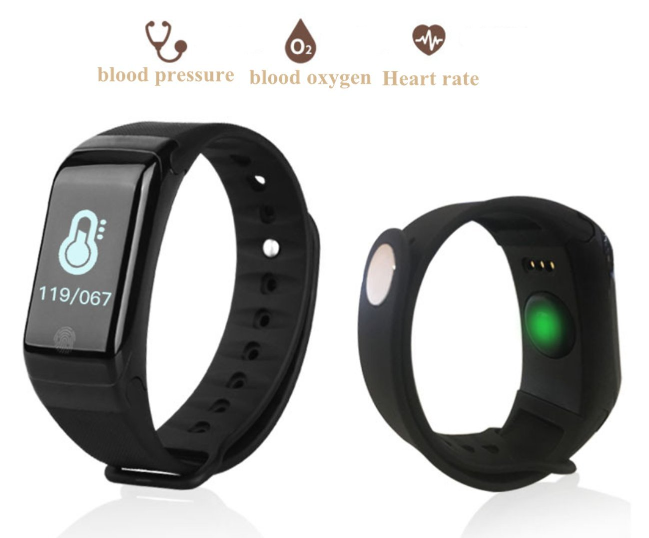 Smart Sport bracelet with Heart Rate Monitor, Sprots Activity Bracelet Smart Watch Pedometer, Smart Bracelet Fitness Tracker Smart Bluetooth Connection Blood pressure Monitor apply for IOS, Android