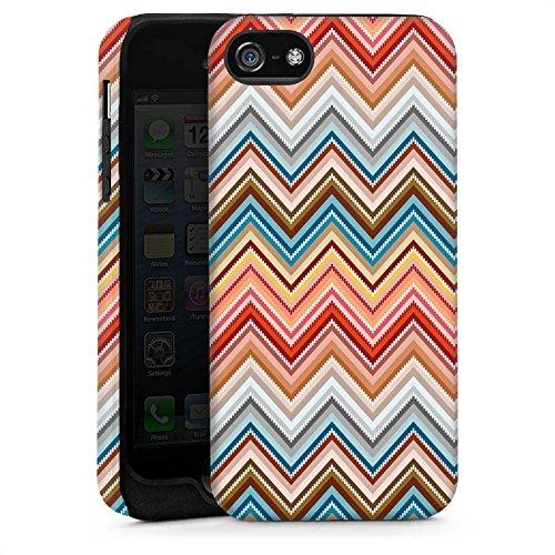 Apple iPhone 5s Housse Étui Protection Coque Zigzag Rétro Motif Cas Tough brillant