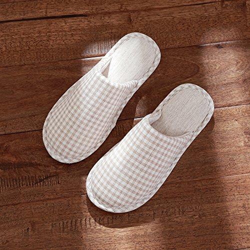 DogHaccd pantofole,Pantofole di cotone femmina coppie inverno soggiorno piano piscina home anti-slittamento terreno morbido lino pantofole primavera giapponese Grigio3