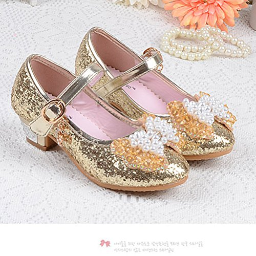 Zhhlinyuan Filles Child Glitter High Heels Buckle Strap Princess Shoes Dance Shoes gold