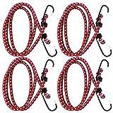 COM-FOUR® 4er Set Spanngummi mit 2 Haken, 100cm, in rot, Gepäckspanner