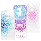 3 Pcs KASOS Coque de Protection Huawei Honor 5X Coque Housse Case Bumper Étui Coque de Protection en TPU Silicone Souple Ultra Hybride Ultra-Slim Mince Léger Ajustement Parfait Transparent Fleur Bleue + Totem Rond + Fleur Rose