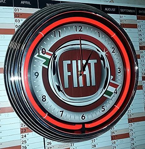 Horloge Neon Clock Fiat Red Neon Fluo Rouge