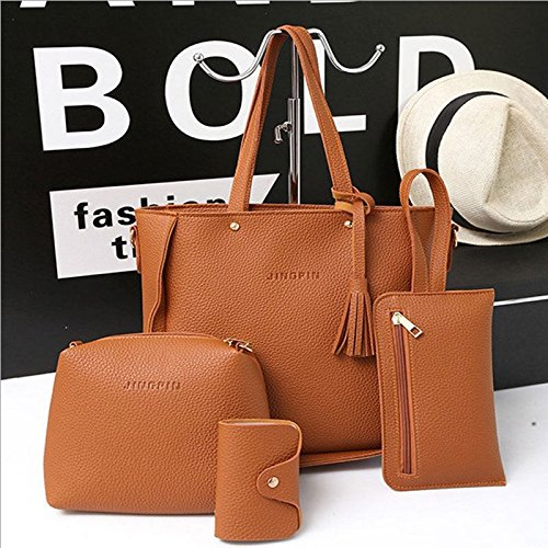 Qiyun Frauen Bag Set 4Lady geprägtes Leder Damen Handtasche Schultertasche Tote Geldbörse Messenger, - Coach Michael Kors