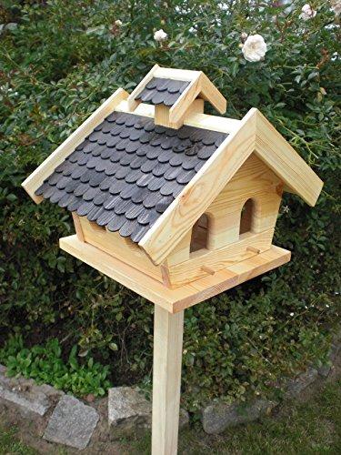 Vogelhaus mit Ständer-(V11+S1)XXL Schwarz-Vogelhäuser Vogelfutterhaus Vogelhäuschen-aus Holz- Schreinerarbeit- - 2