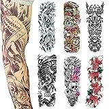 Extra Große Temporäre Tattoos, Voller Arm Temporäre Tattoo für Männer und Frauen, Tiger, Rose, Body Art Erwachsene Wasserdichte Aufkleber (6 Stück)(2)