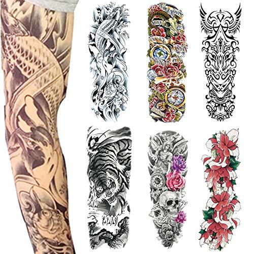 �re Tattoos, Voller Arm Temporäre Tattoo für Männer und Frauen, Tiger, Rose, Body Art Erwachsene Wasserdichte Aufkleber (6 Stück)(2) ()
