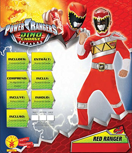 Image of Rubie's Official Power Rangers Dino Charge Red Ranger Flat Chest, Children Costume - Large Ages 7 -8
