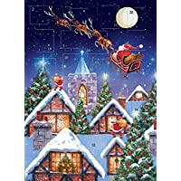 Advent Calendar Santa Sleigh Night Glitter Finish