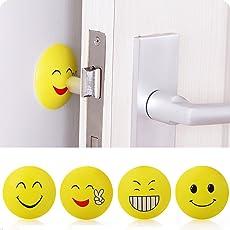 OKASU 4 Pcs Self Adhesive Rubber Door Knob Stopper Wall Shield Bumper Protectors Guard,Candy Color