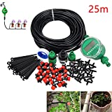 25M/82ft 4mm Irrigation System Include Watering Timmer, Garden Automatic Watering Kit, Easy Drip Micro Kit for Garden Landscape, Flowerbed Patio, Greenhouse, Plants (30Pcs 25M Drippers & Irrigation Timer)