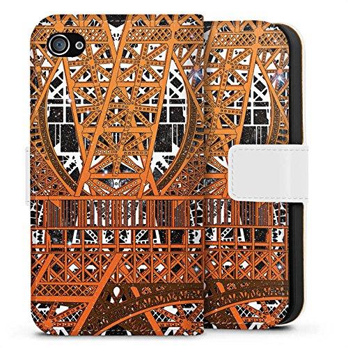 Apple iPhone X Silikon Hülle Case Schutzhülle Paris Eiffelturm Muster Sideflip Tasche weiß