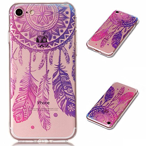 Coque iPhone 7(4.7 pouce),Linvei Ultra Mince TPU Silicone Design avec Shock-Absorption et Antichoc Housse - Sleeping Cat and Books Plume Dreamcatcher