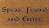 doormatsonline Laser Gravur Kokosfaser Fußmatte 70cm x 40cm Speak Freund und geben Sie